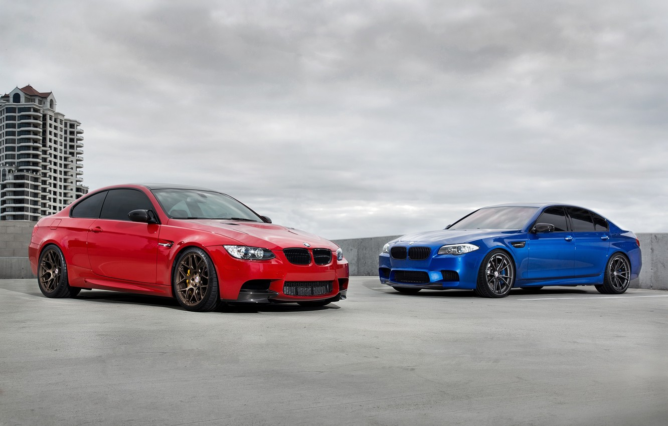 Photo wallpaper roof, the sky, blue, red, clouds, BMW, BMW, red, f10, e92, monte carlo blue