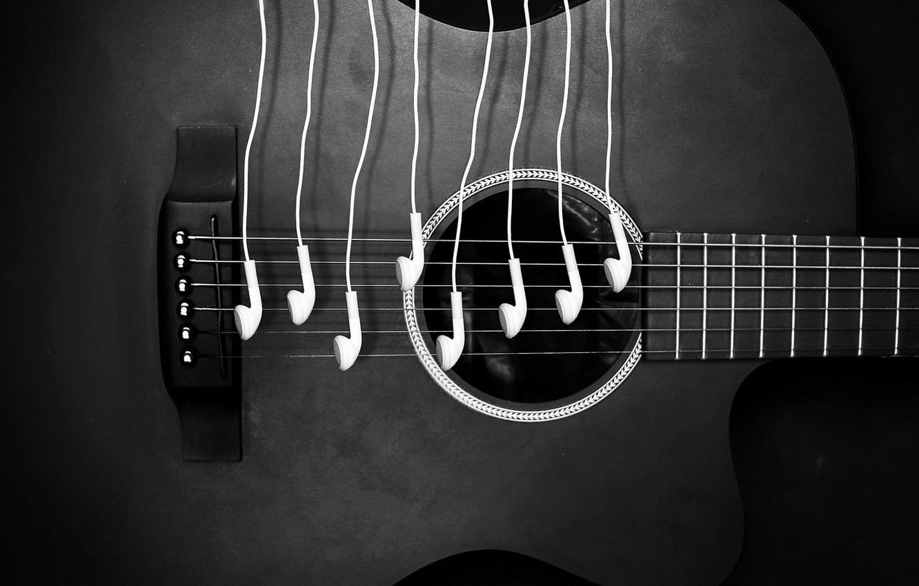 Photo wallpaper ipod, music, guitar, sound, headphones, notes