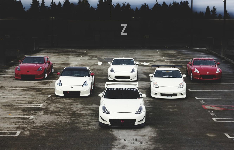 Photo wallpaper nissan, turbo, red, white, 350z, japan, tuning, custom, 370z, nismo, datsunjdm