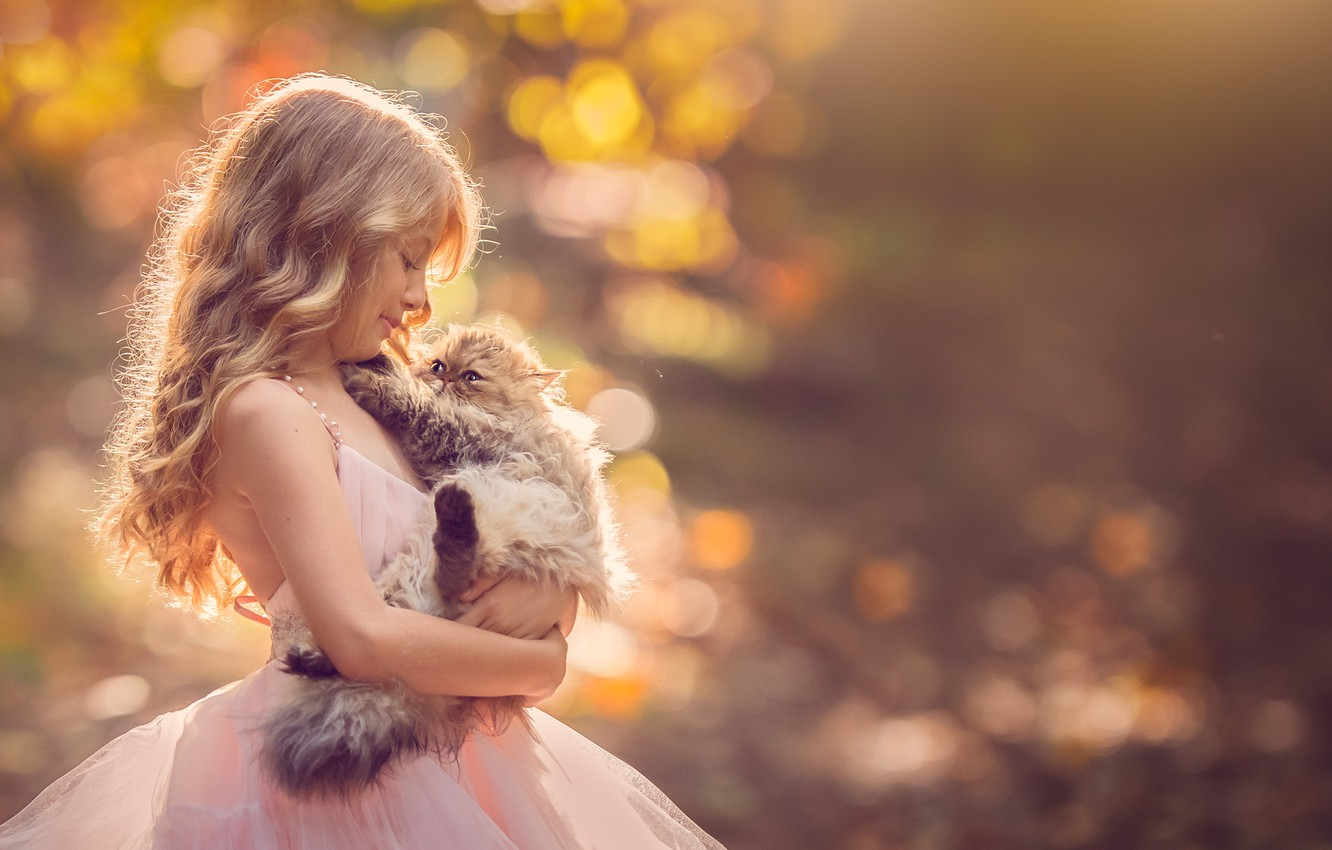 Photo wallpaper background, dress, girl, kitty, friends