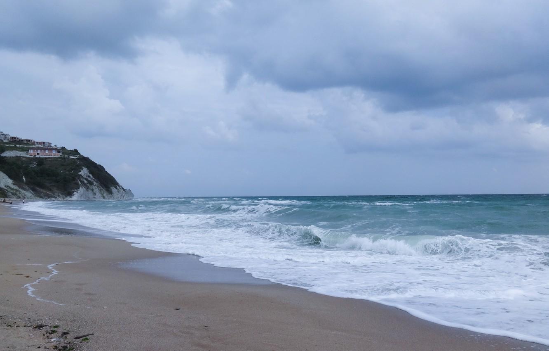 Wallpaper sand, sea, wave, foam, landscape, widescreen