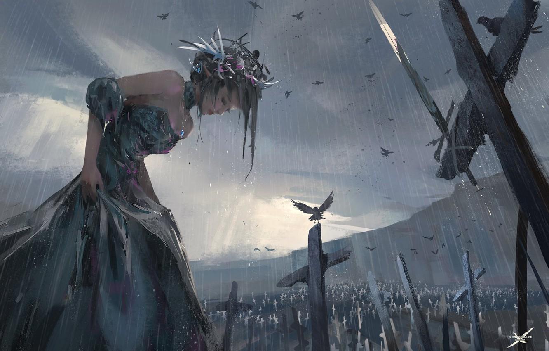 Photo wallpaper girl, birds, rain, art, wlop, Ghost blade