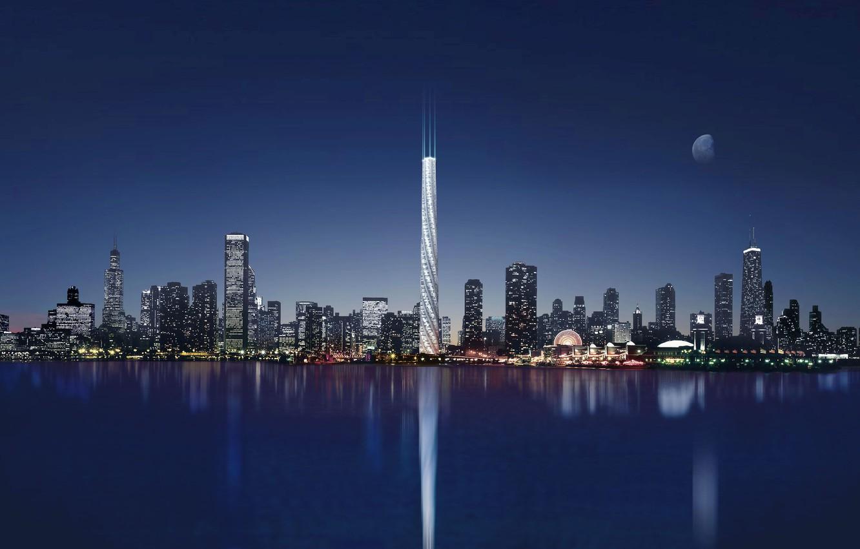 Photo wallpaper night, the city, lights, lake, reflection, Chicago, USA