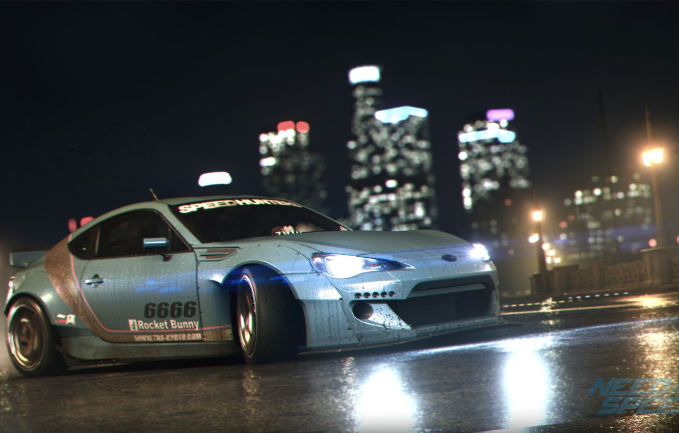 Photo wallpaper Subaru, Race, Need for Speed, Game, BRZ, Rocket, 2015, Bunny, Nigth
