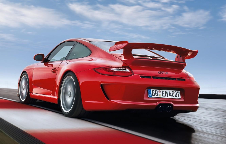 Photo wallpaper 911, 997, Porsche, Porsche, rear view, GT3, GT3.red