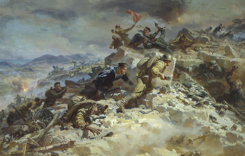 Photo wallpaper war, smoke, battle, ruins, the great Patriotic war