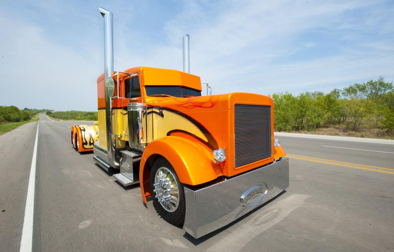 Photo wallpaper road, large, truck