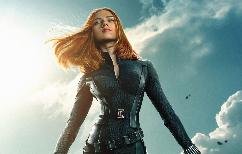 Photo wallpaper Scarlett Johansson, cinema, sky, clouds, Marvel, movie, Captain America, film, belt, Natasha, 2014, uniform, S. …