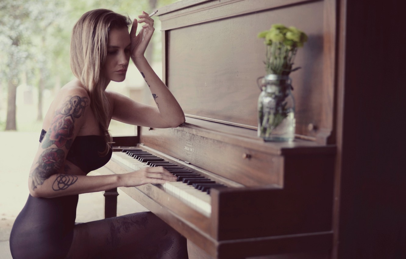 Photo wallpaper girl, music, piano