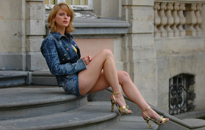 Photo wallpaper Girl, Legs, Beautiful, Blue, Kira, Russian Model