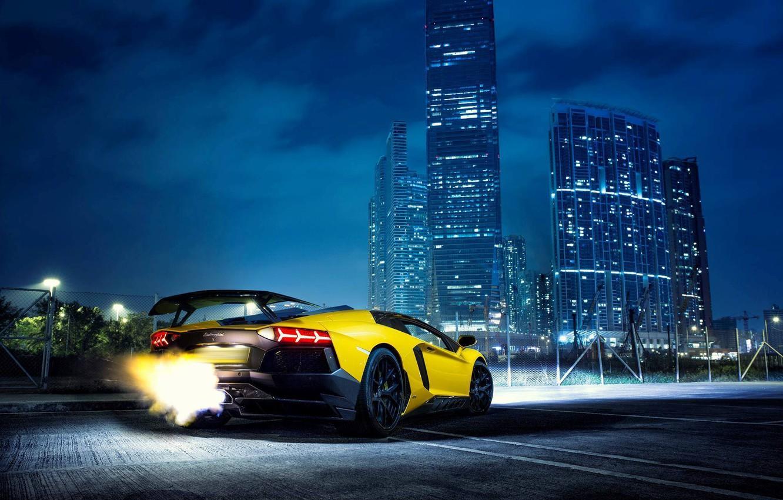 Wallpaper Lamborghini Fire Night Yellow Aventador Lamborghini