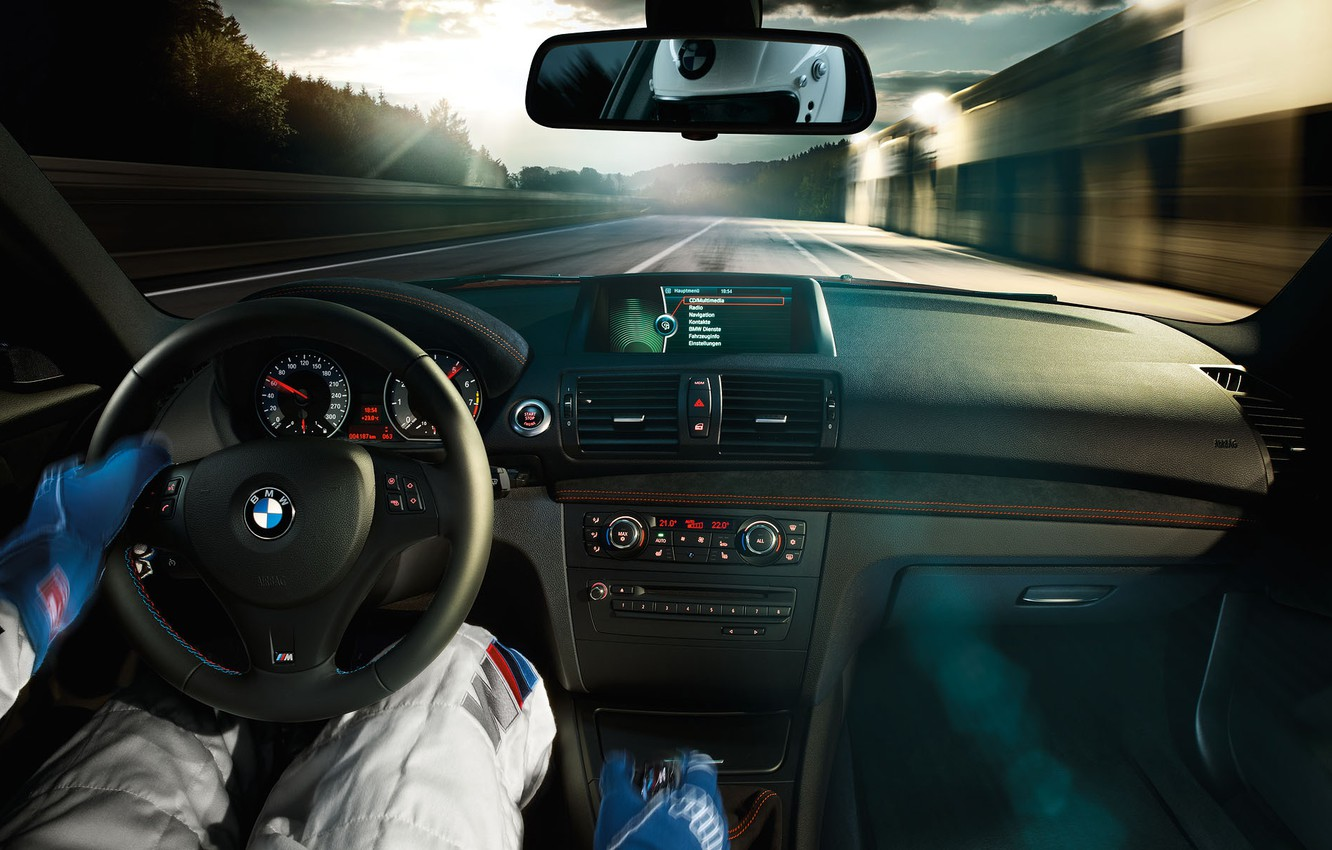 Photo wallpaper BMW, speed, Racer, salon, track.