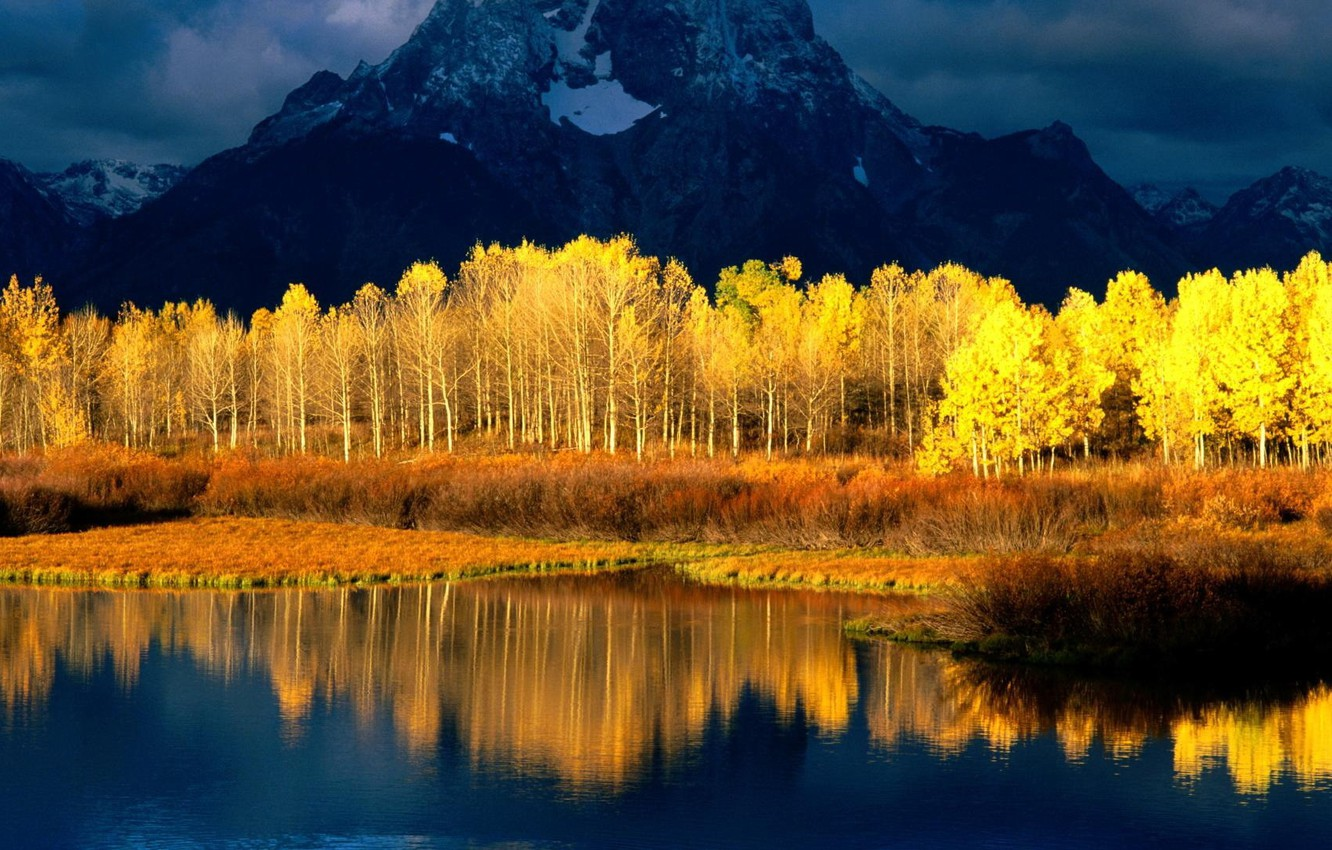 Photo wallpaper the sky, water, clouds, snow, trees, mountains, reflection, river, gold, Forest