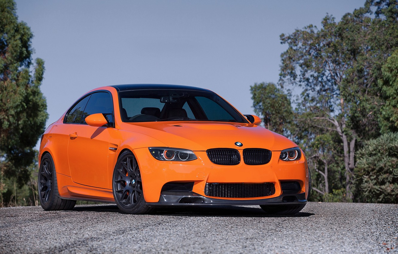 Photo wallpaper the sky, trees, orange, tuning, bmw, BMW, coupe, tuning, orange, e92