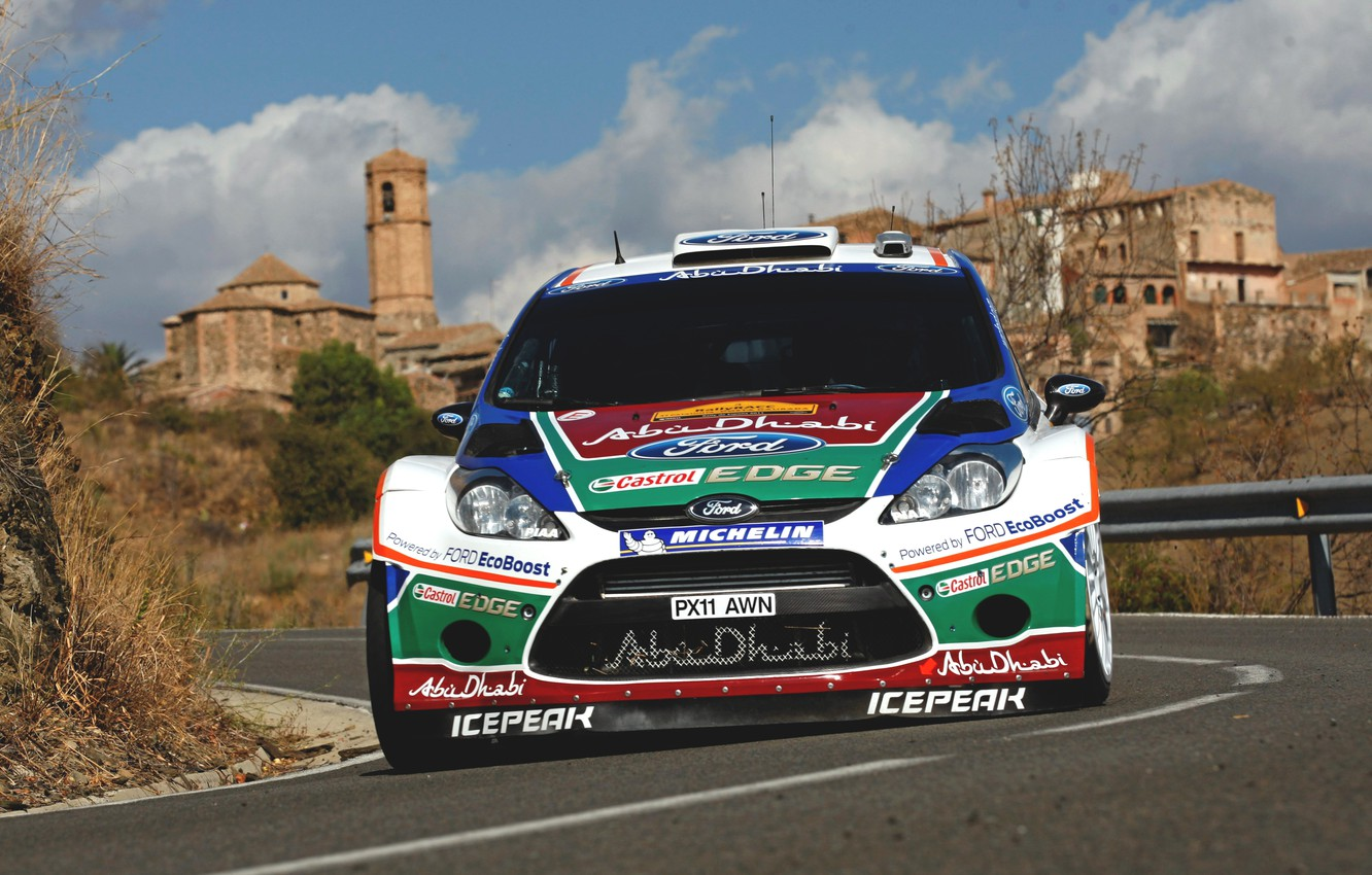 Photo wallpaper Ford, Auto, Ford, Race, Asphalt, The hood, Lights, WRC, the front, Rally, Rally, Fiesta