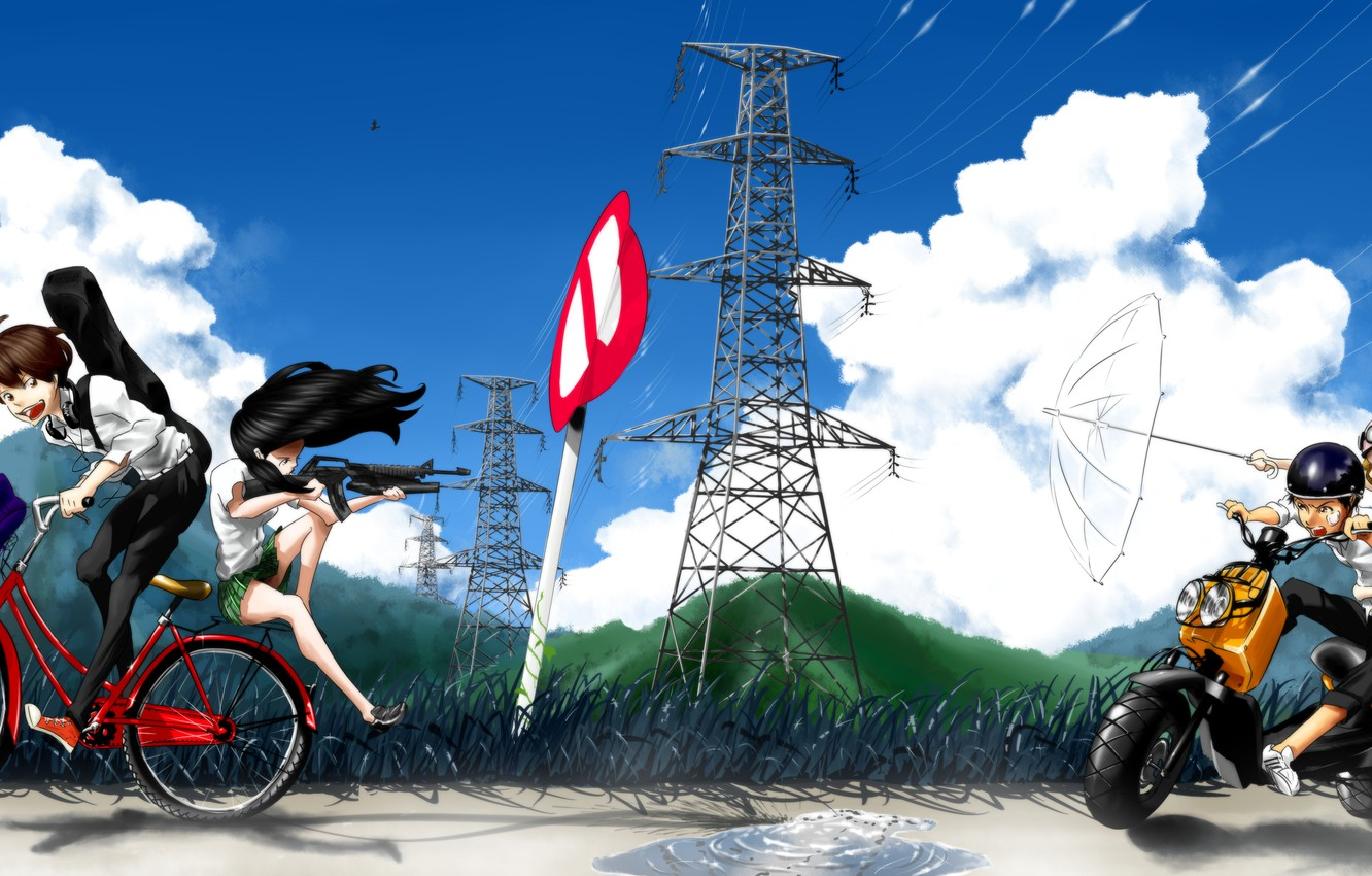 Photo wallpaper the sky, grass, clouds, mountains, birds, nature, bike, weapons, girls, the wind, sign, wire, guitar, …