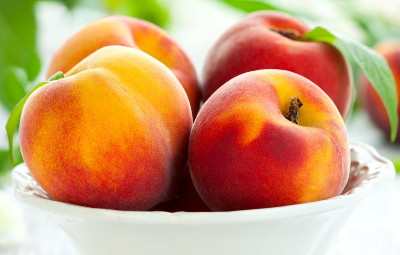 Photo wallpaper plate, fruit, peaches, peaches