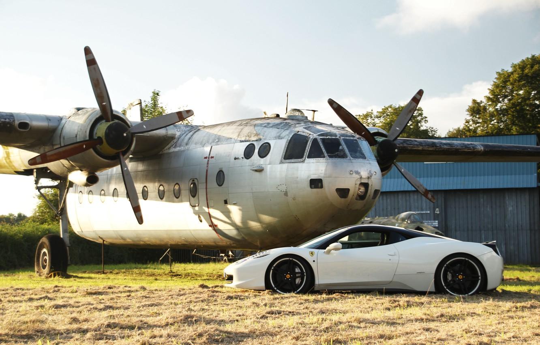 Photo wallpaper white, profile, white, the plane, ferrari, Ferrari, Italy, 458 italia, plane, black rims