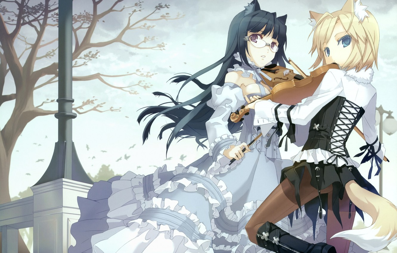 Photo Wallpaper Trees Girls Anime Ears Tails Tokyo Cpe Gothic