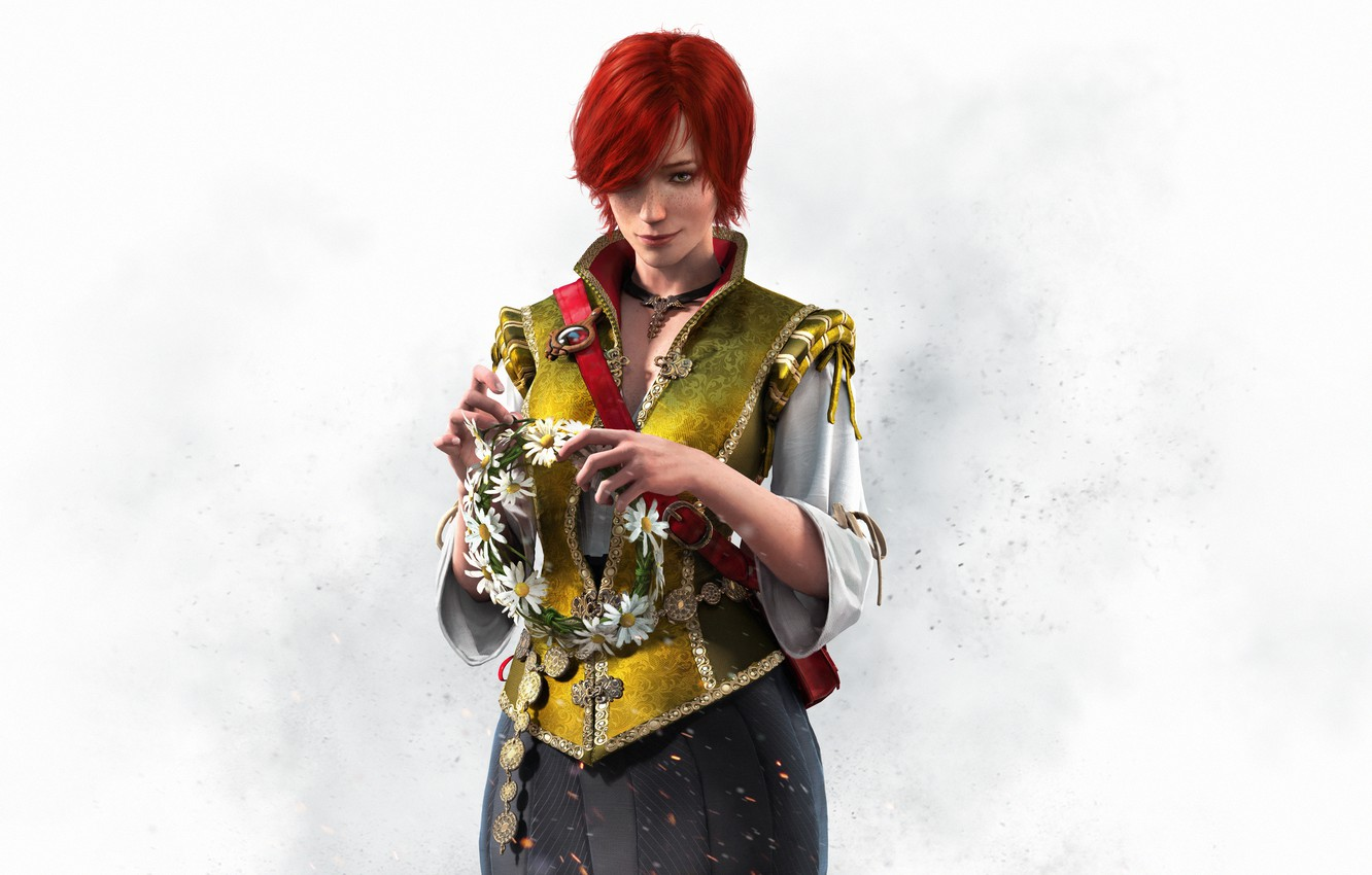 Photo wallpaper girl, the game, red, wreath, character, CD Projekt RED, The Witcher 3: Wild Hunt, The …