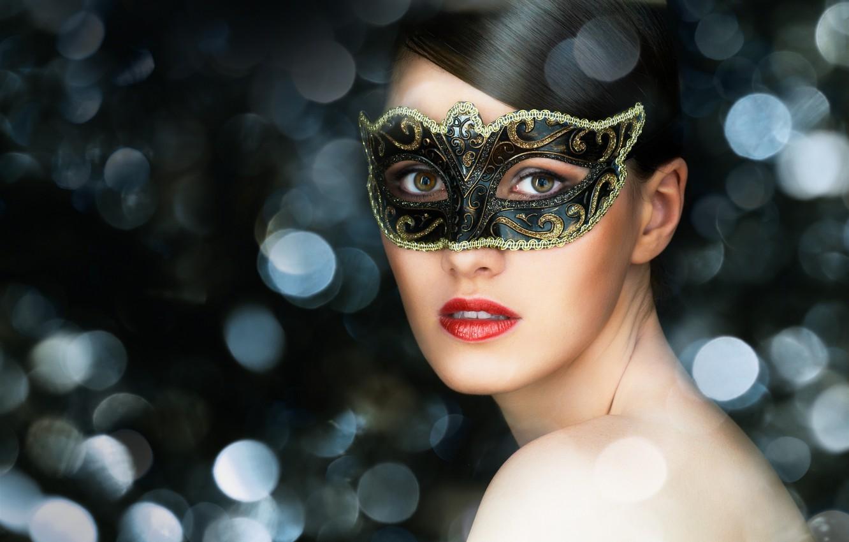 Photo wallpaper look, girl, brunette, mask, green-eyed