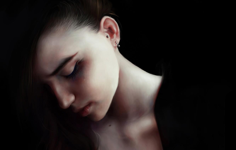 Photo wallpaper girl, face, hair, dark, beauty, earrings, art, alice