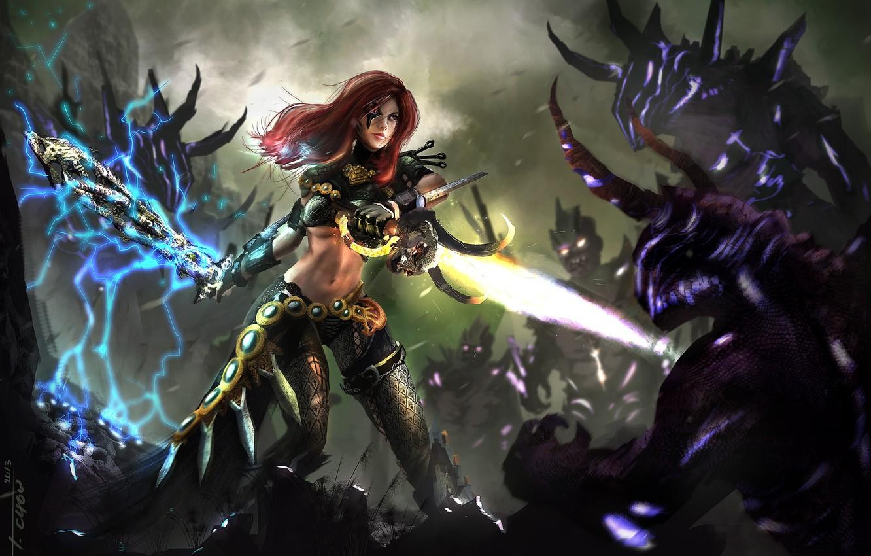 Photo wallpaper girl, magic, sword, art, monsters, battle, demons