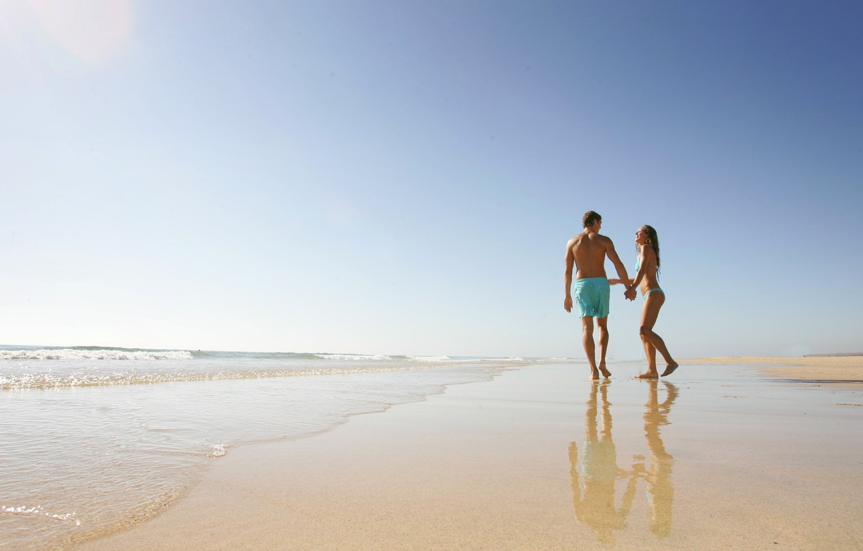 Photo wallpaper beach, joy, the ocean, shore, two, moments of life