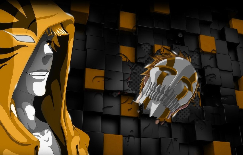 Photo wallpaper game, Bleach, chaos, yellow, anime, boy, Ichigo, face, blonde, hero, asian, Kurosaki Ichigo, mask, manga, …