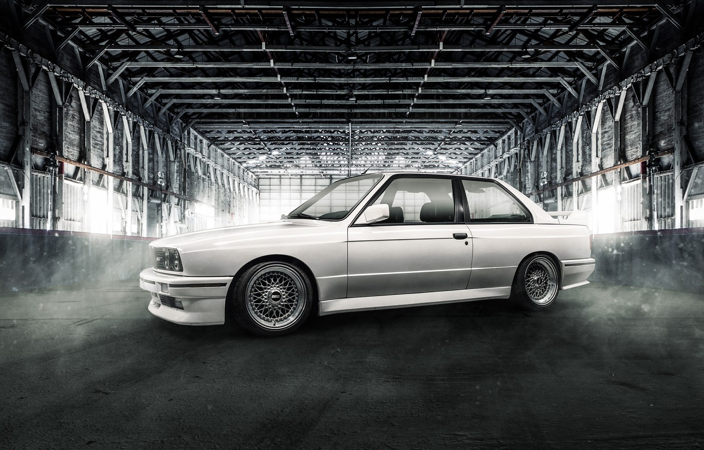 Photo wallpaper BMW, white, coupe, E30, BBS