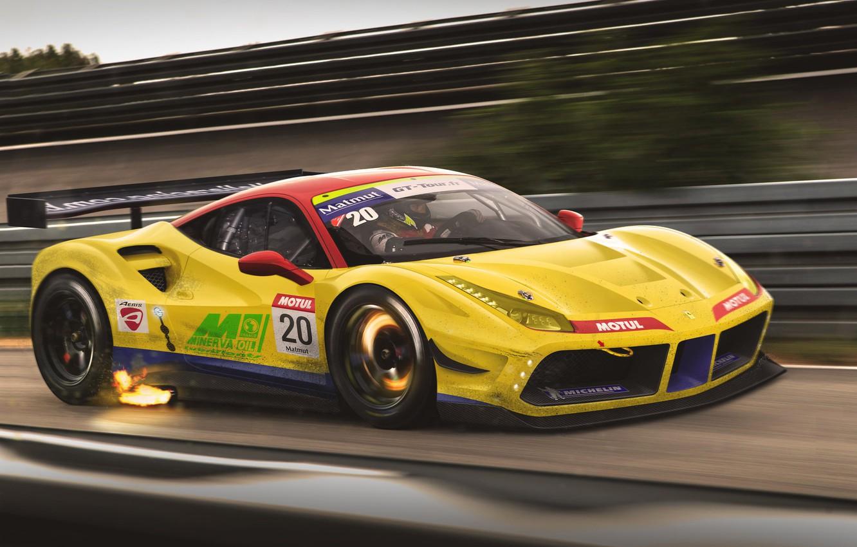 Photo wallpaper Ferrari, Car, Race, GTB, Speed, GT3, Yellow, Track, 488