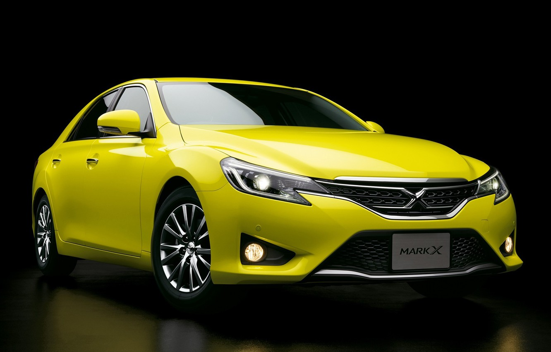 Photo wallpaper yellow, Toyota, car, black background, Mark X