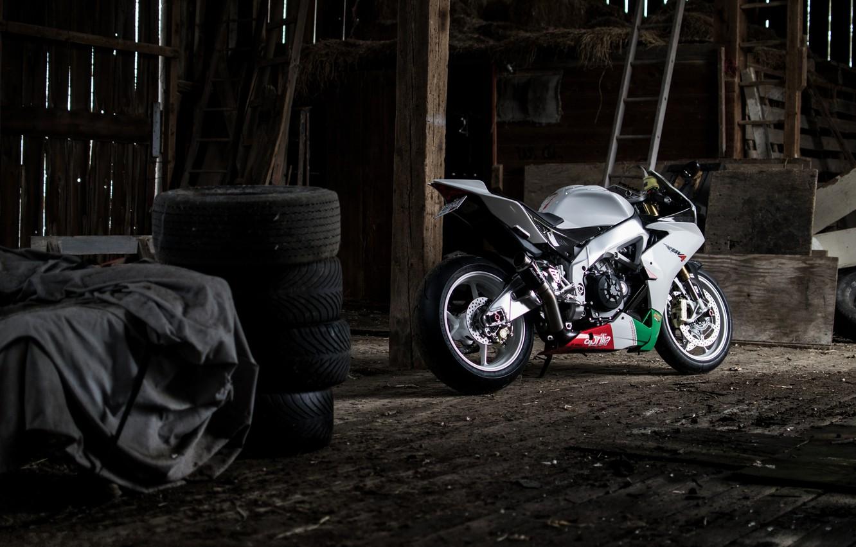 Photo wallpaper white, tires, motorcycle, white, aprilia, bike, Aprilia, rsv4