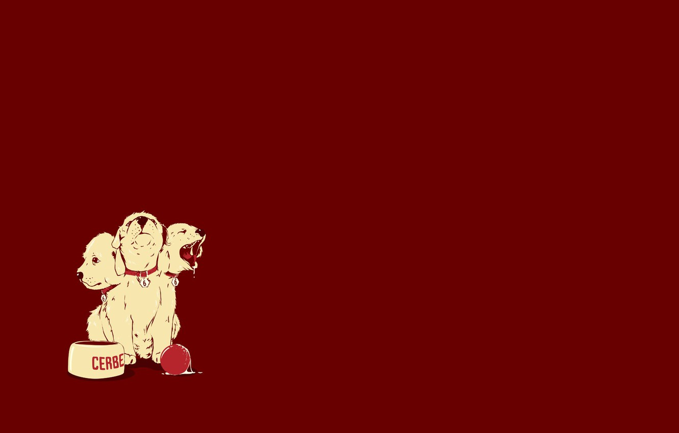 Photo wallpaper dog, puppy, head, bowl, the ball, dog, Cerberus, 666