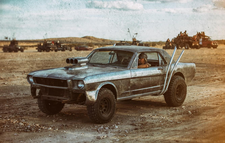 Photo wallpaper style, desert, car, Post-Apocalyptic