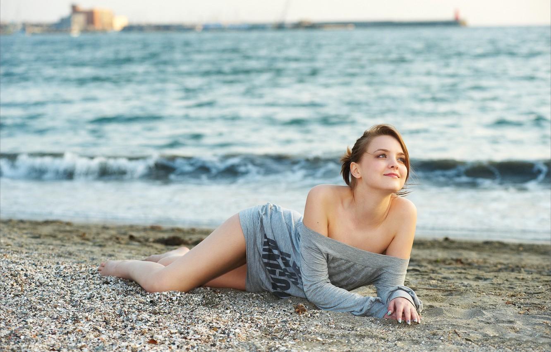 Photo wallpaper wave, pebbles, shore, Amelie