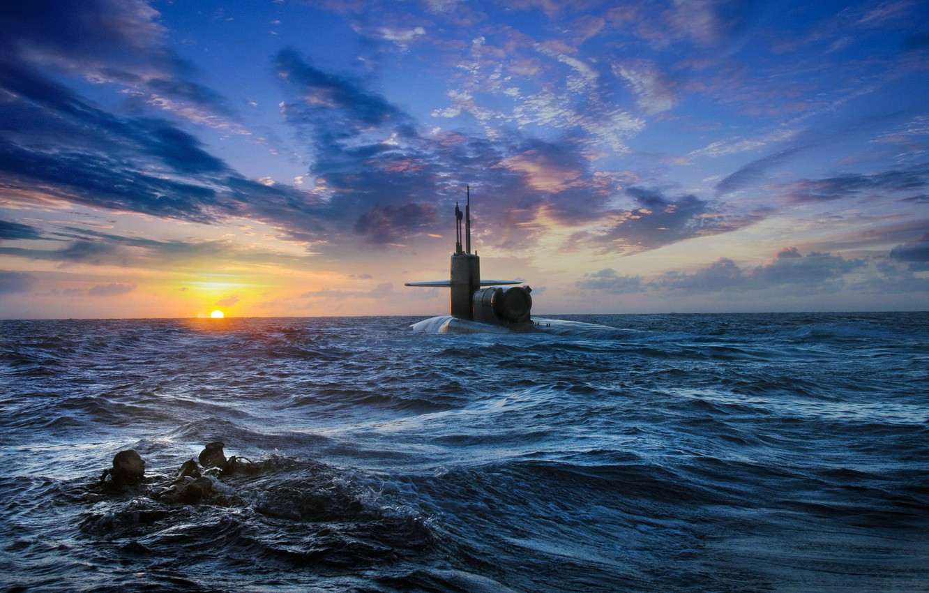 Photo wallpaper sea, the sky, sunset, submarine, divers
