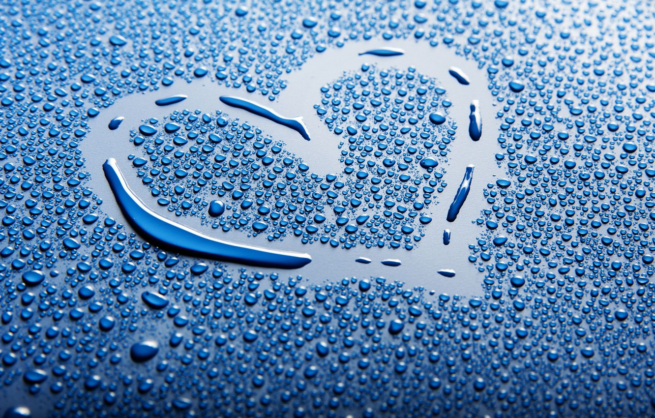 Photo wallpaper water, drops, background, blue, widescreen, Wallpaper, mood, heart, wallpaper, heart, different, widescreen, background, full screen, …
