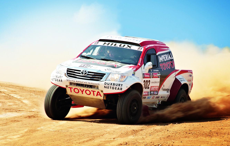 Photo wallpaper Auto, Sport, Machine, Speed, Day, Toyota, Rally, Dakar, SUV, Rally, The front