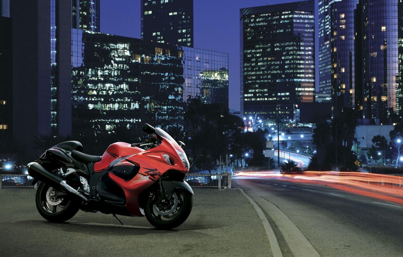 Photo wallpaper road, the city, motorcycle, Suzuki, Hayabusa, GSX 1300 R