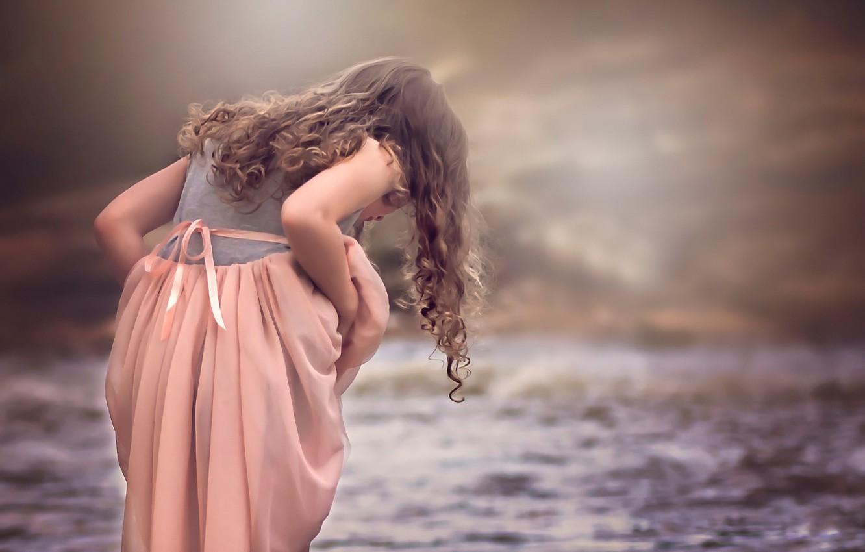 Photo wallpaper water, dress, girl, curls, Julia Altork