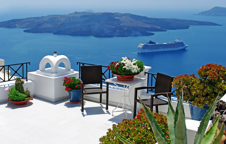 Photo wallpaper summer, the sky, clouds, landscape, nature, boats, Santorini, Greece