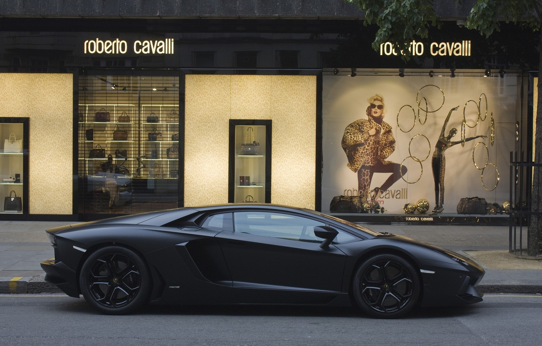 Photo wallpaper street, profile, lamborghini, street, aventador, Lamborghini, aventador, shop, matte black, black matte, Roberto Cavalli, lp700, …