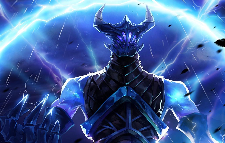 Photo wallpaper the storm, lightning, Game, dota 2, Razor