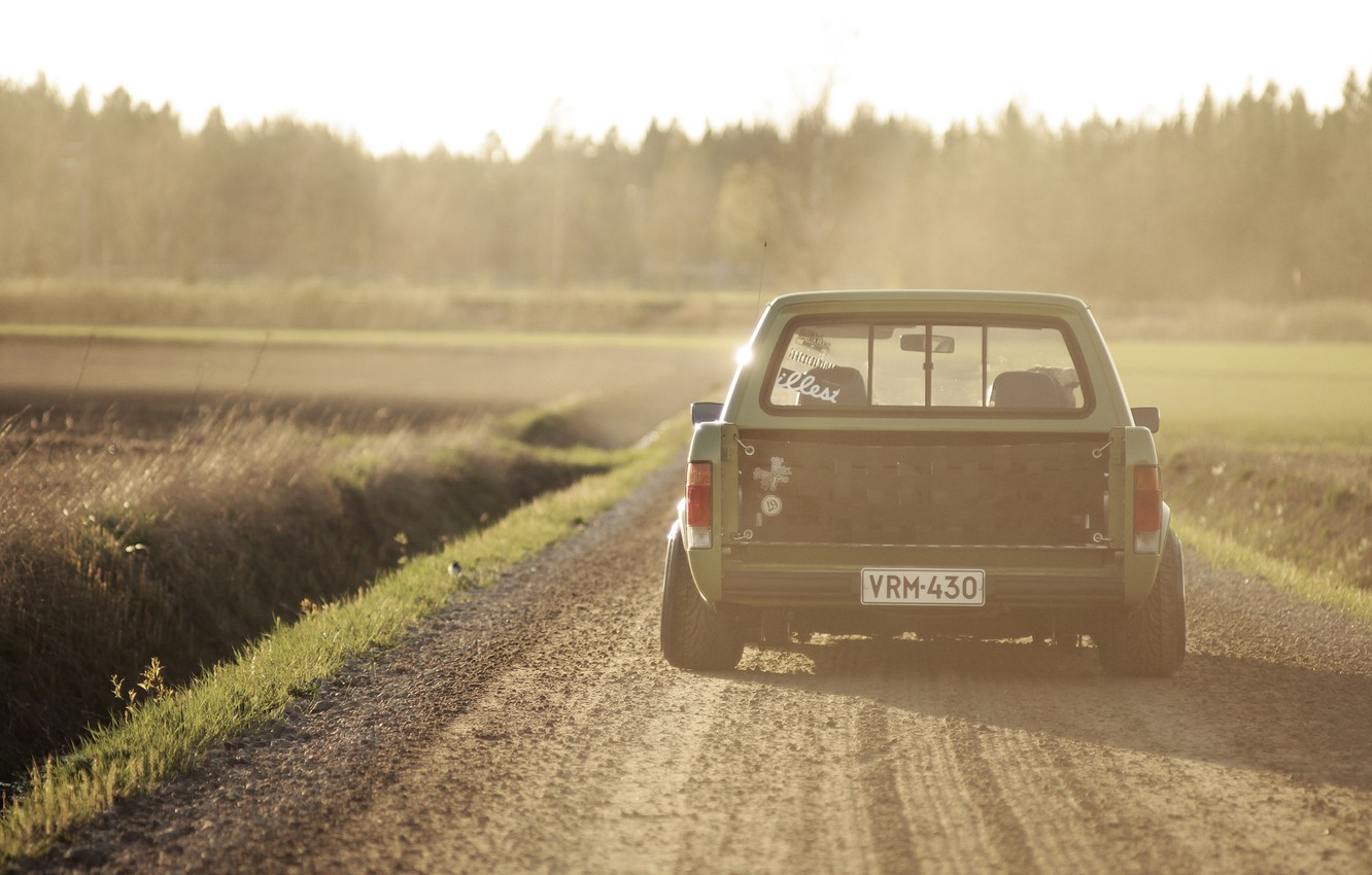 Photo wallpaper road, the sun, shadow, Volkswagen, wheel, back, tail lights, Caddy, countryside 2