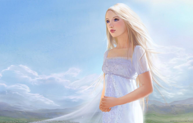 Photo wallpaper the sky, girl, dress