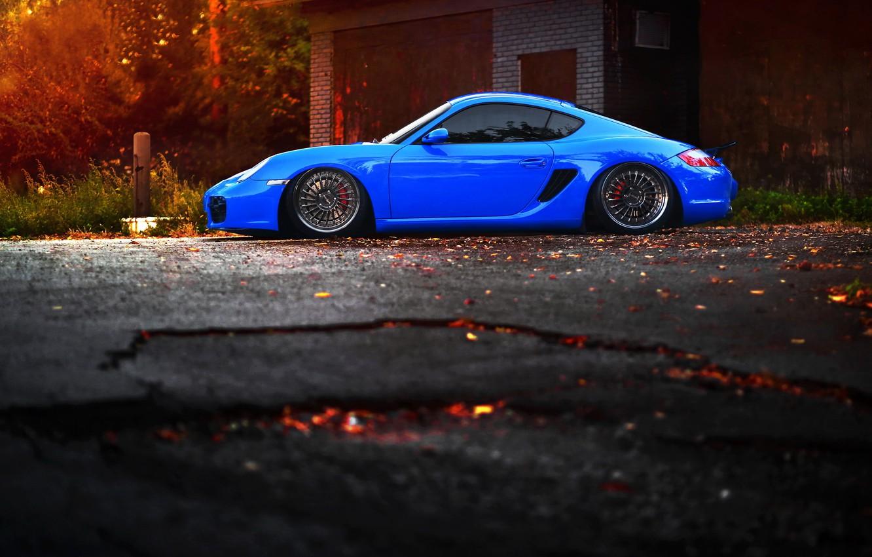 Photo wallpaper car, tuning, Porsche, blue, tuning, stance, porsche cayman