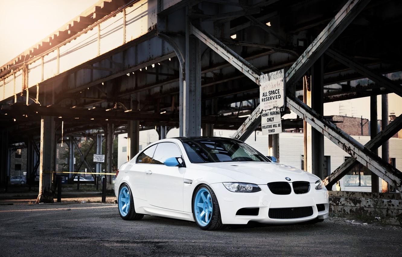 Photo wallpaper white, bridge, the city, BMW, BMW, white, E92, IND