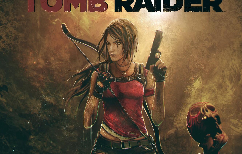 Photo wallpaper girl, weapons, guns, the game, skull, bow, art, lara croft, tomb raider, Square Enix, Tomb …