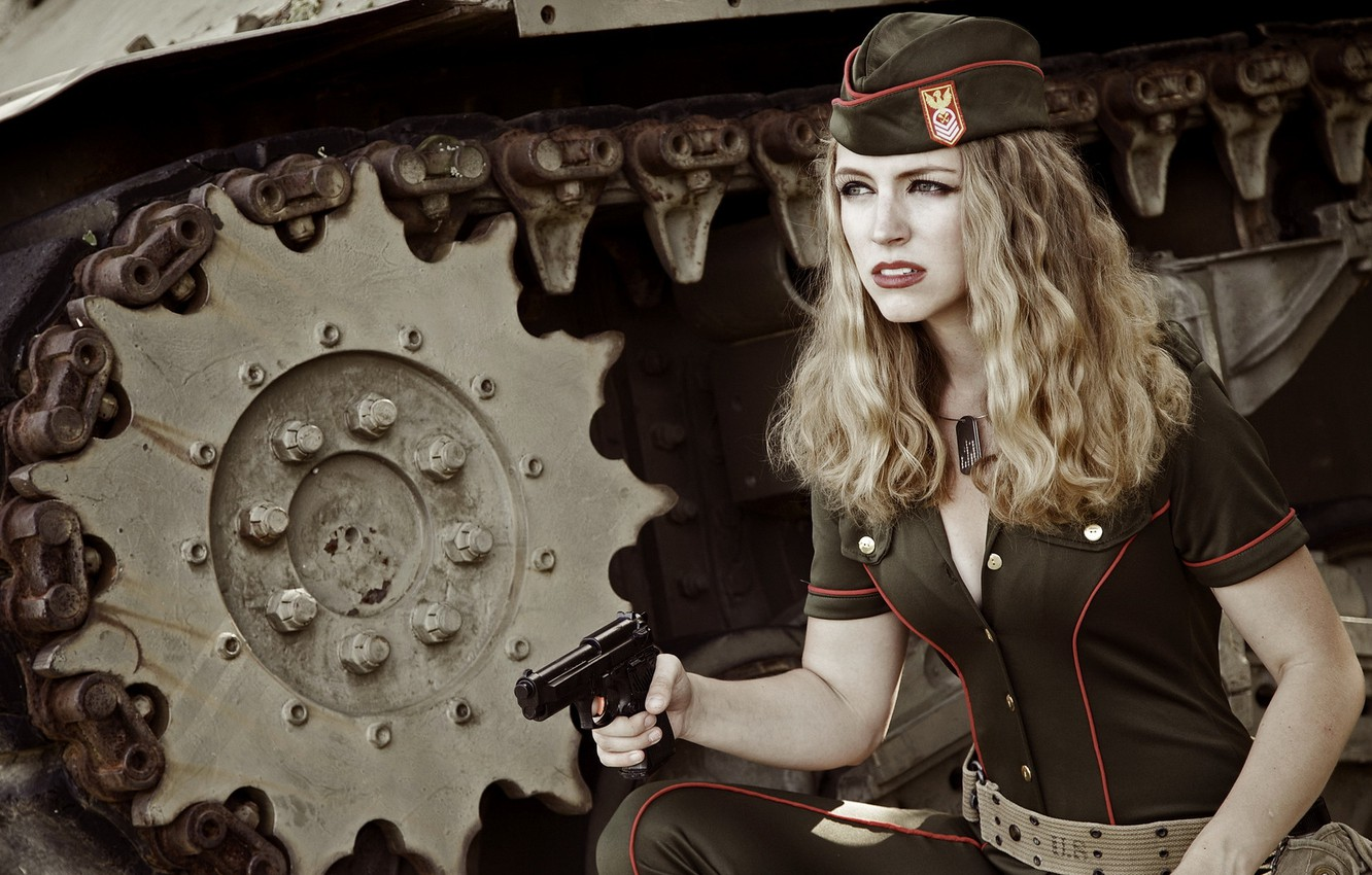 Photo wallpaper girl, gun, weapons, the situation